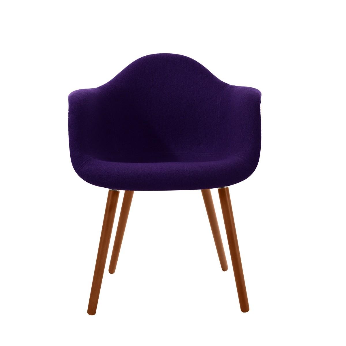 acheter fauteuil violet pieds bois clair
