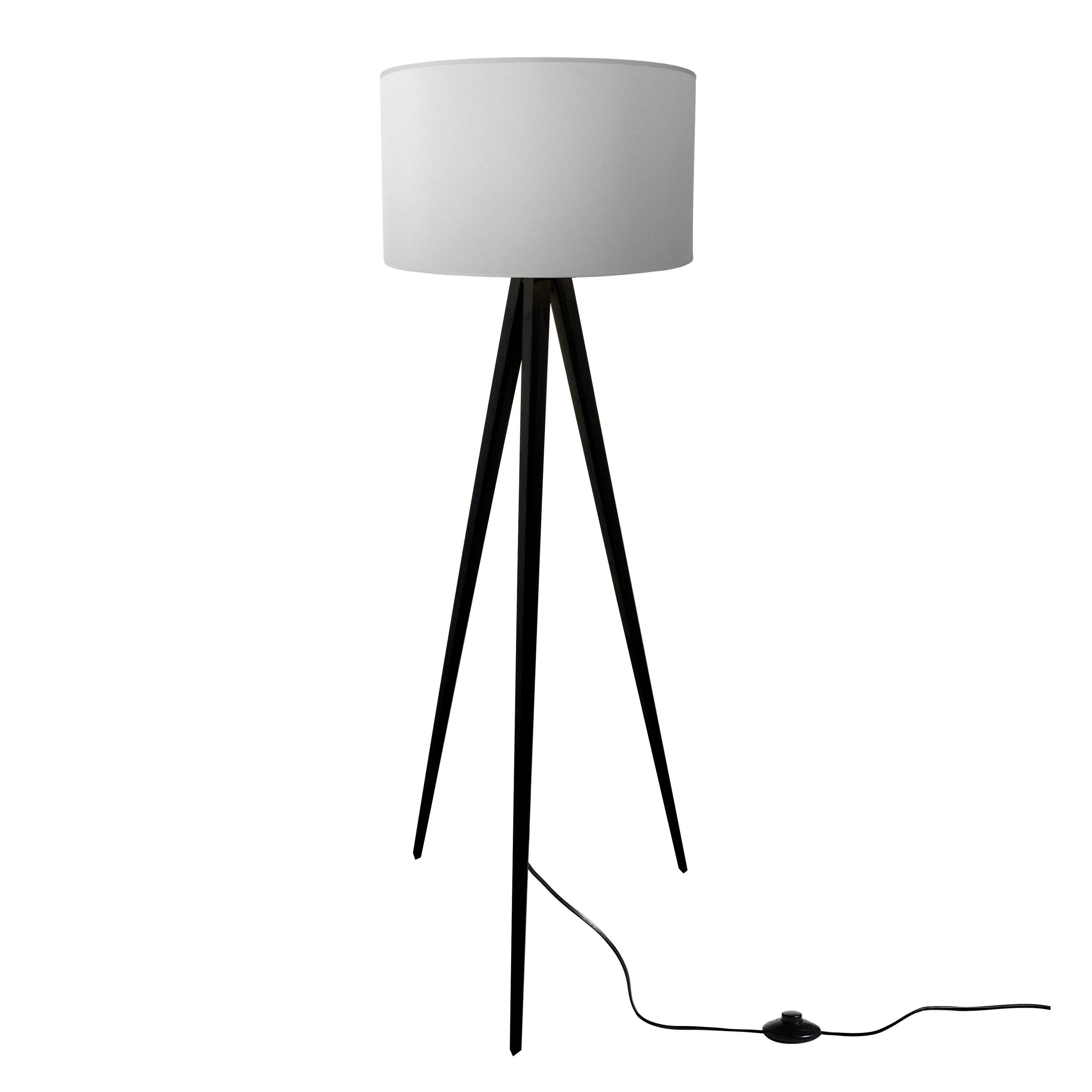 acheter lampadaire noir abat jour gris