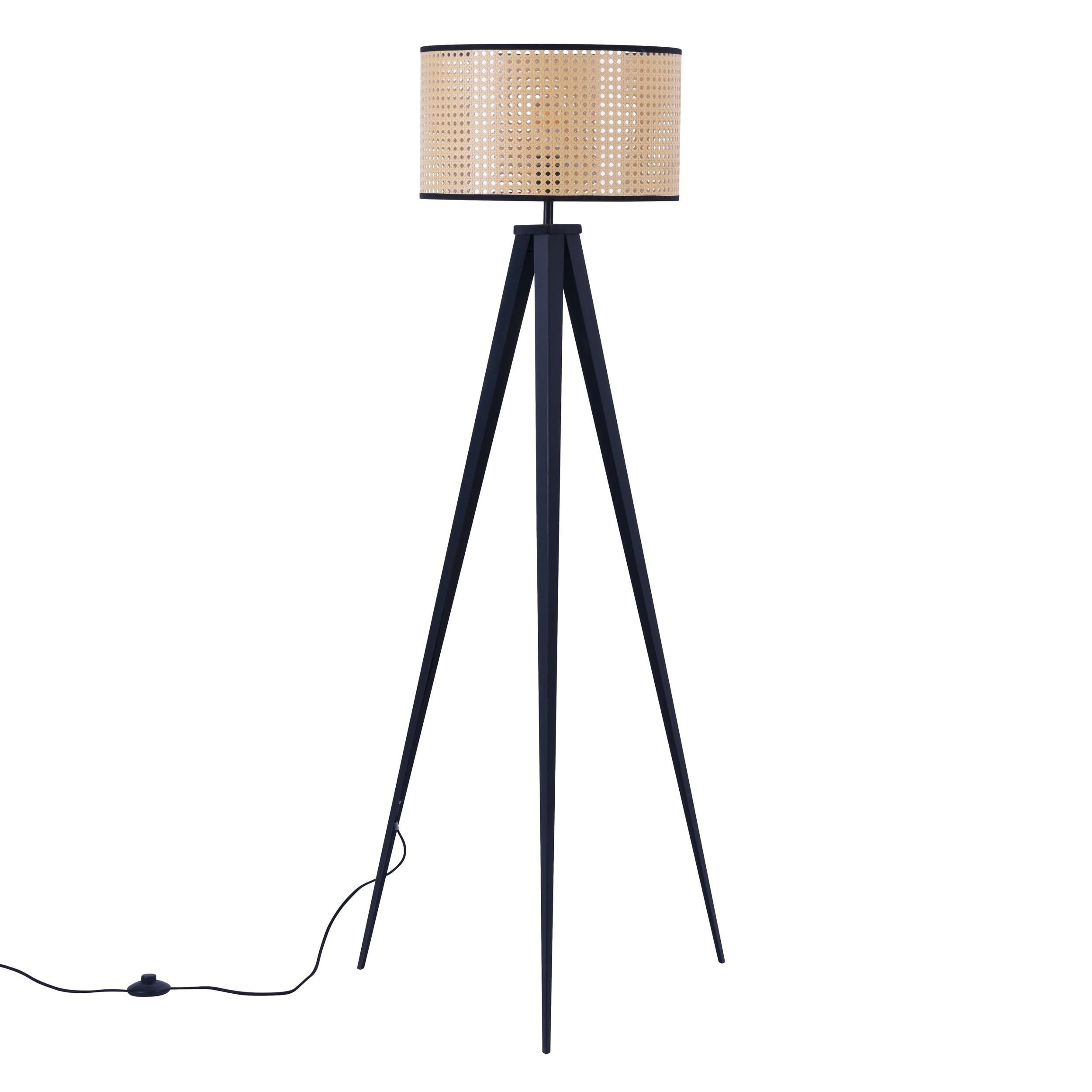 acheter lampadaire en rotin et metal