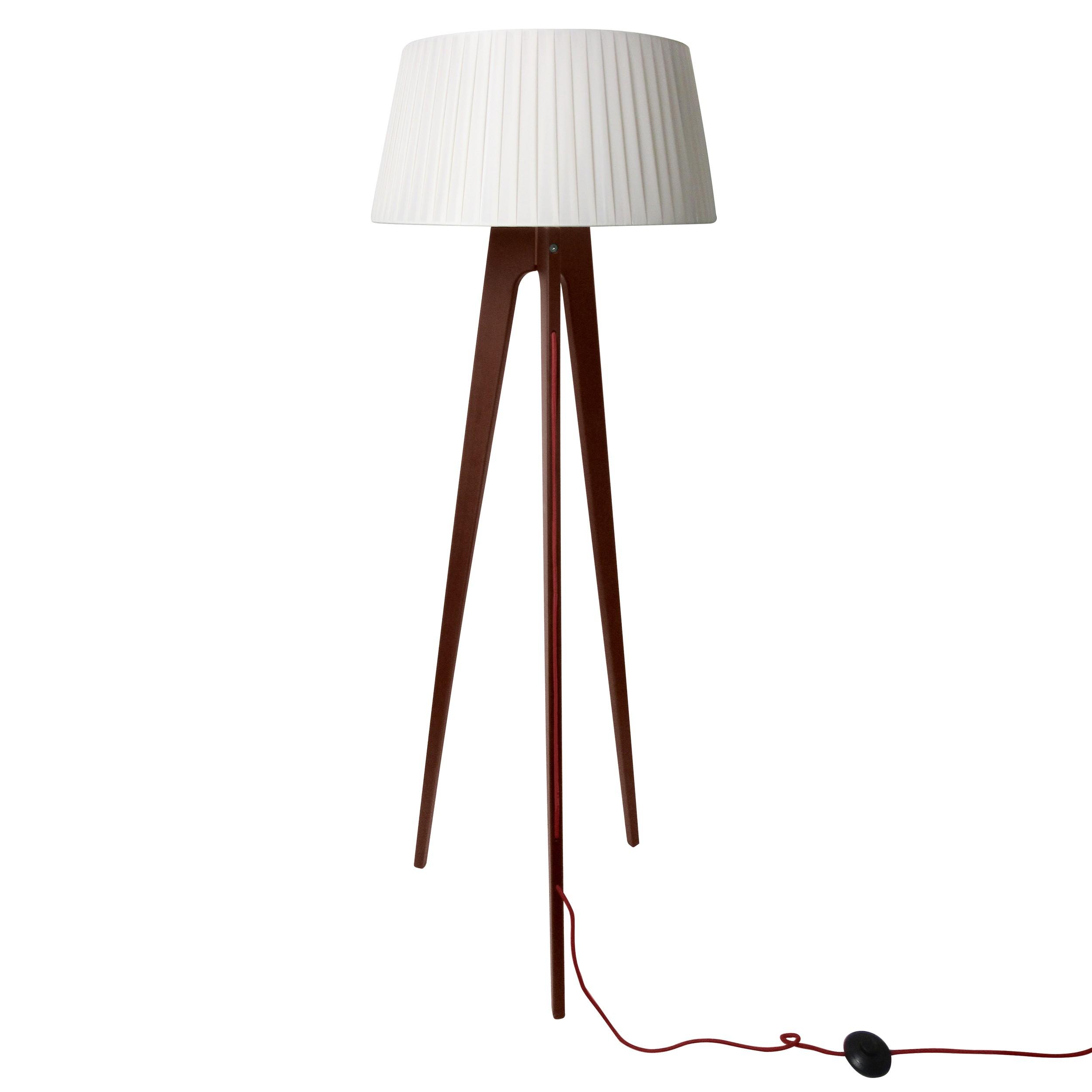 acheter lampadaire trepied bois fonce