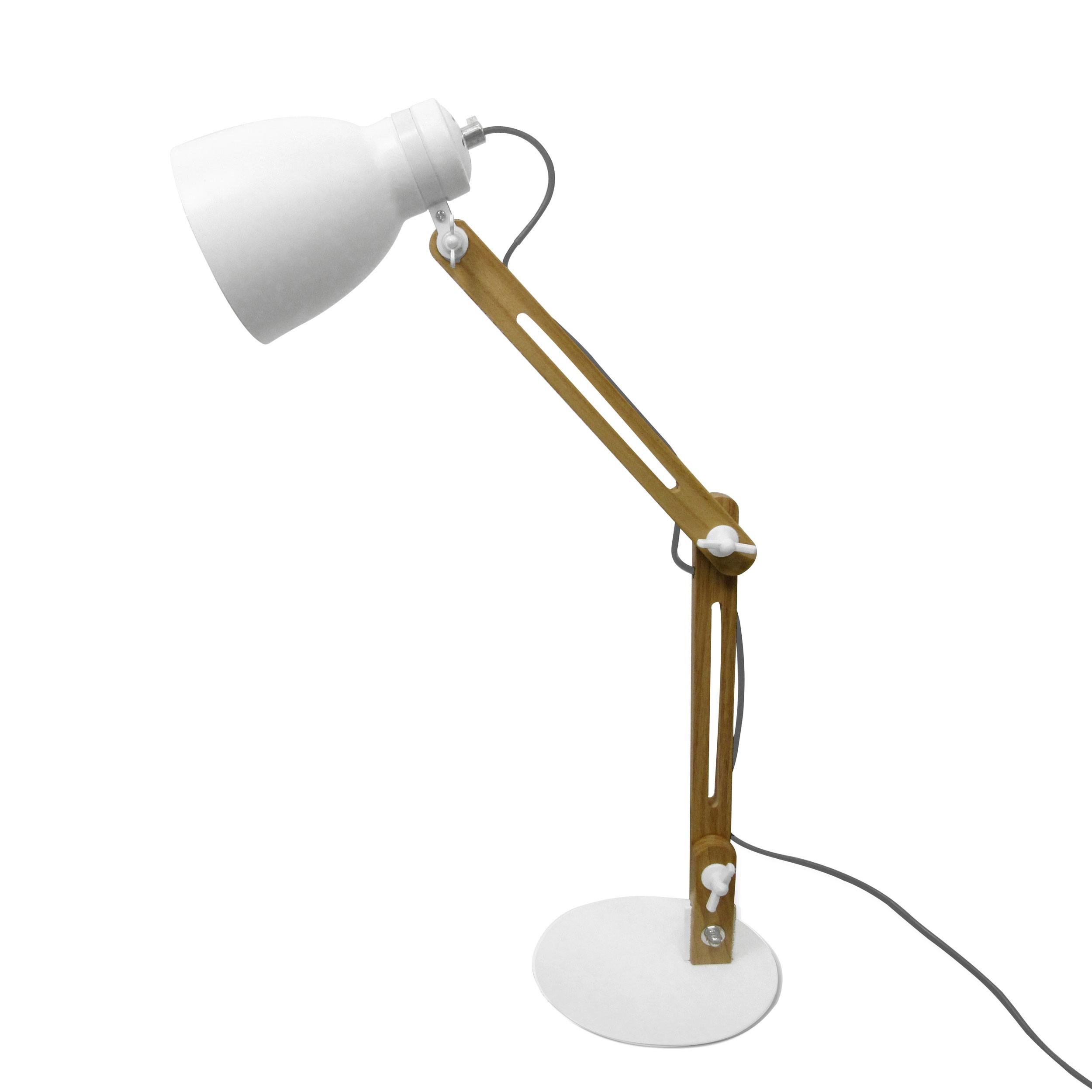 achat lampe de bureau blanche et bois