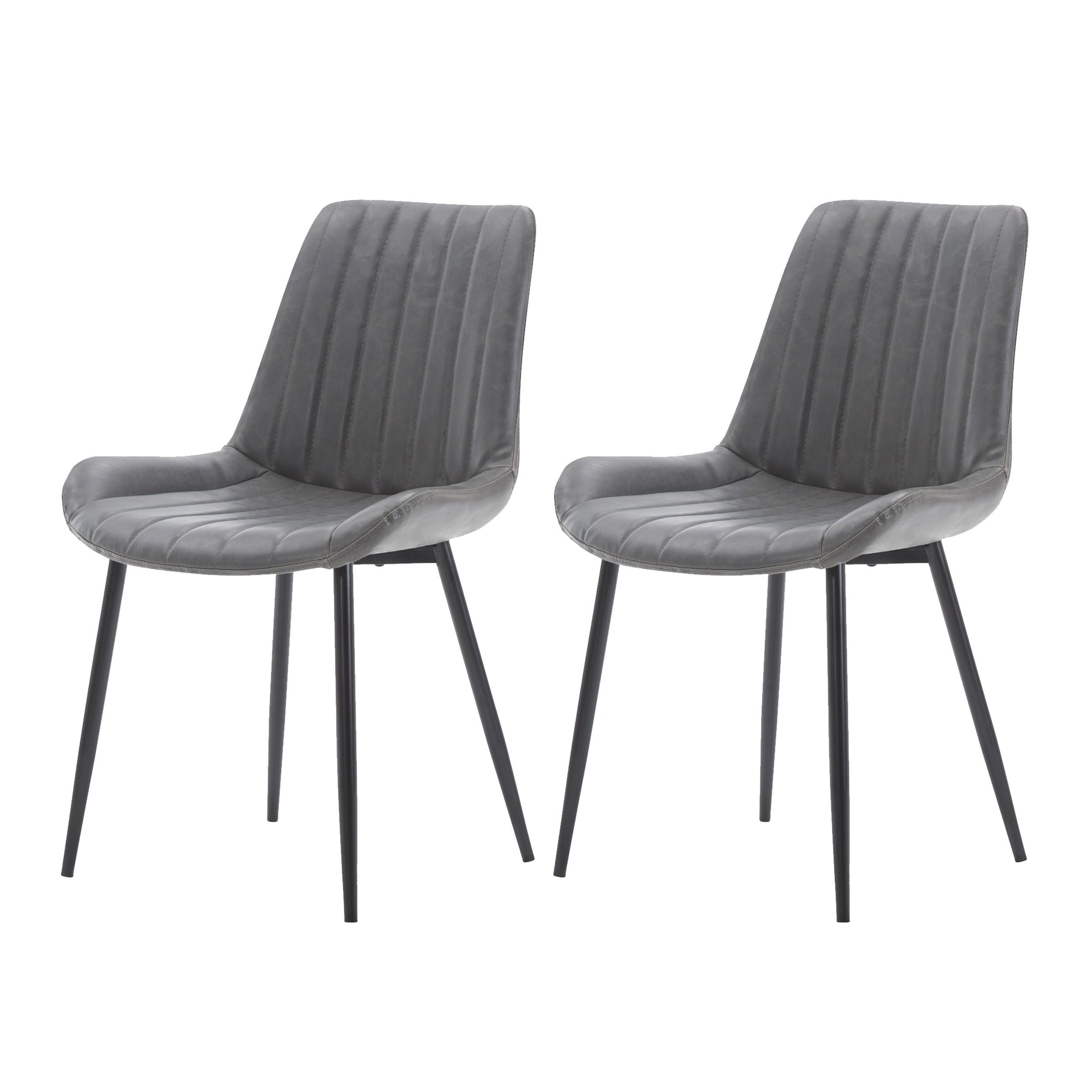 acheter lot de 2 chaise gris simili cuir