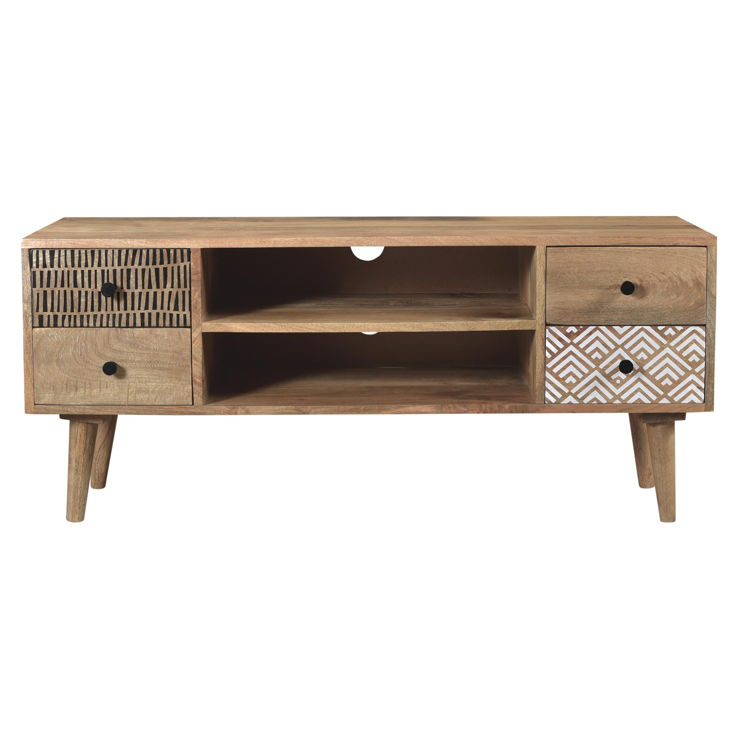 acheter meuble tv bois clair brut