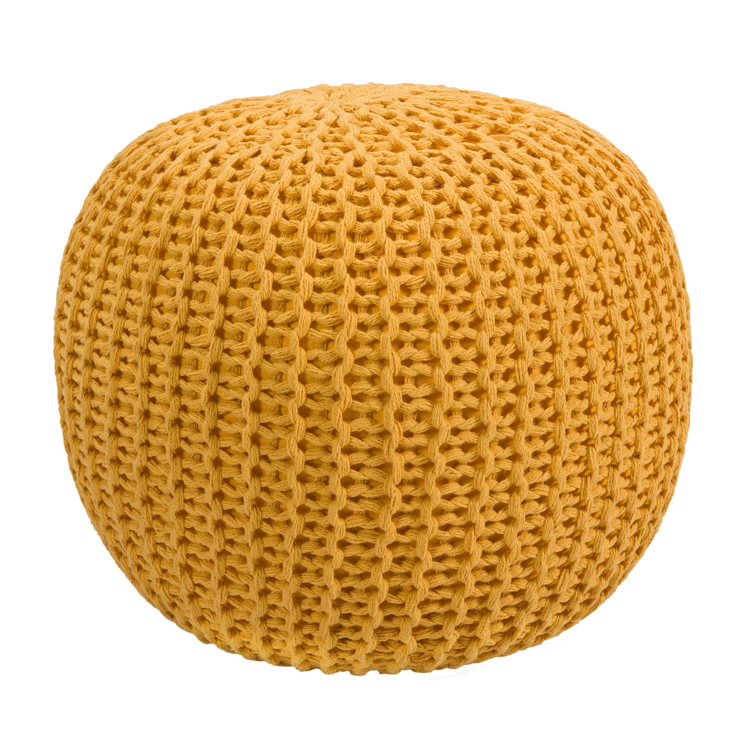 acheter pouf en tricot jaune moutarde
