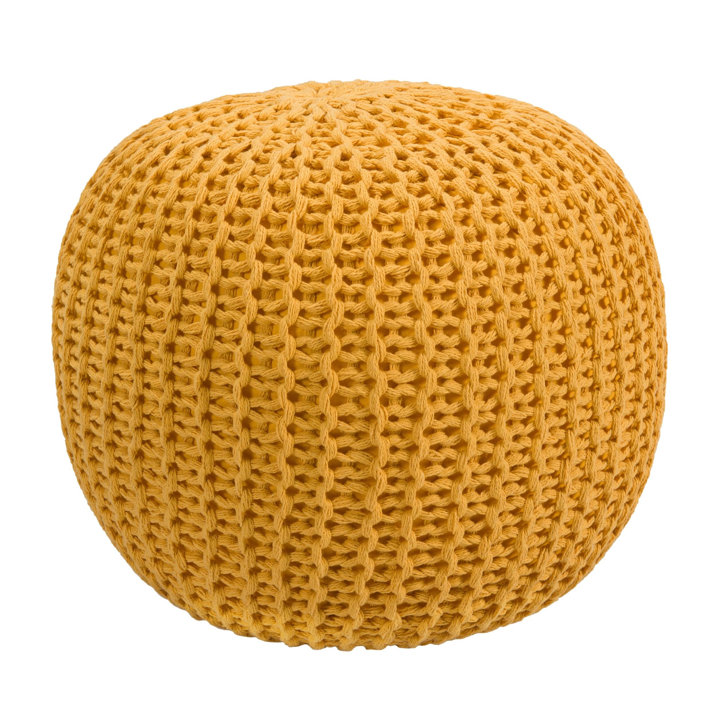 acheter pouf rond tricot jaune moutarde