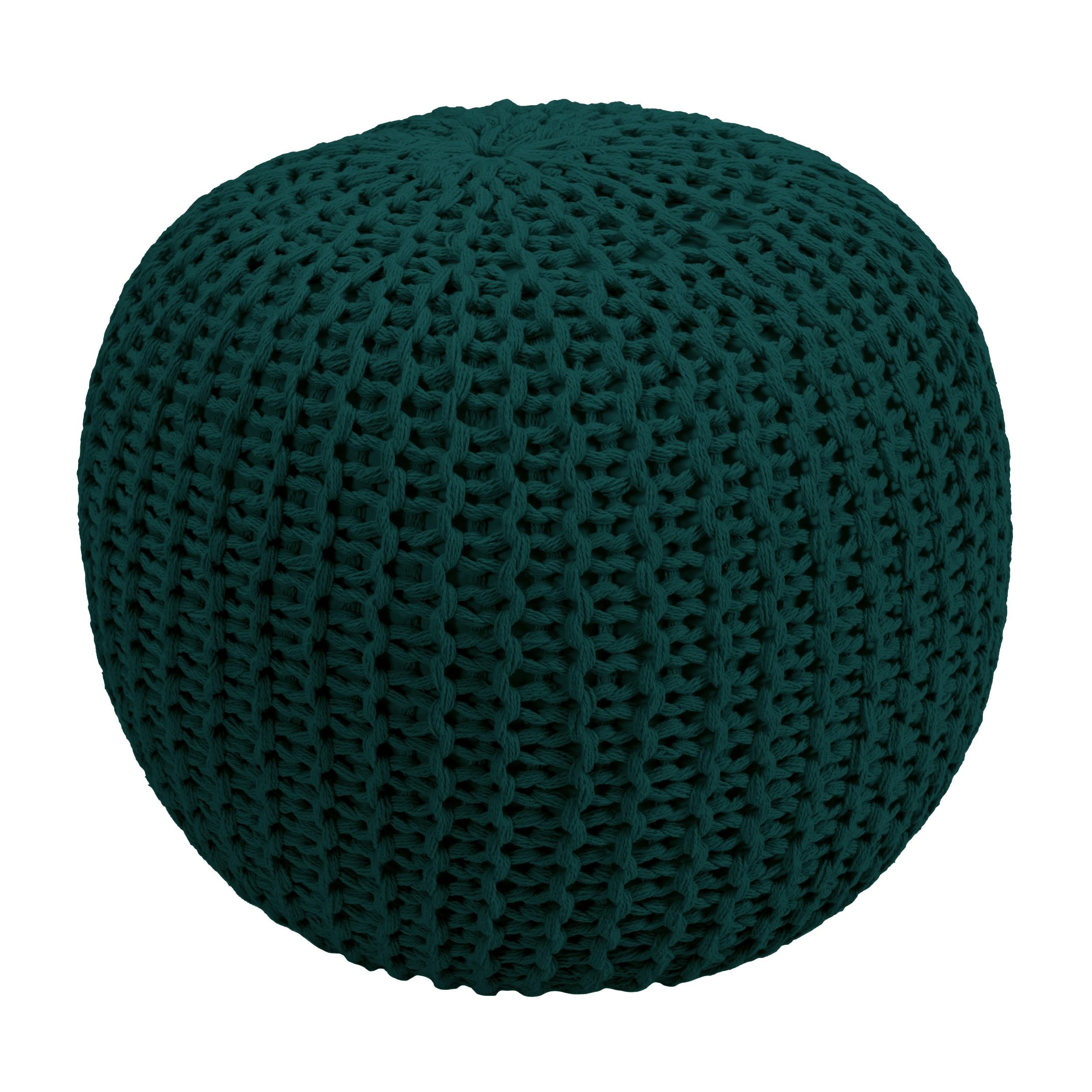 Cache Pied De Sapin Rotin pouf tricot vert sapin elisa ∅ 40cm