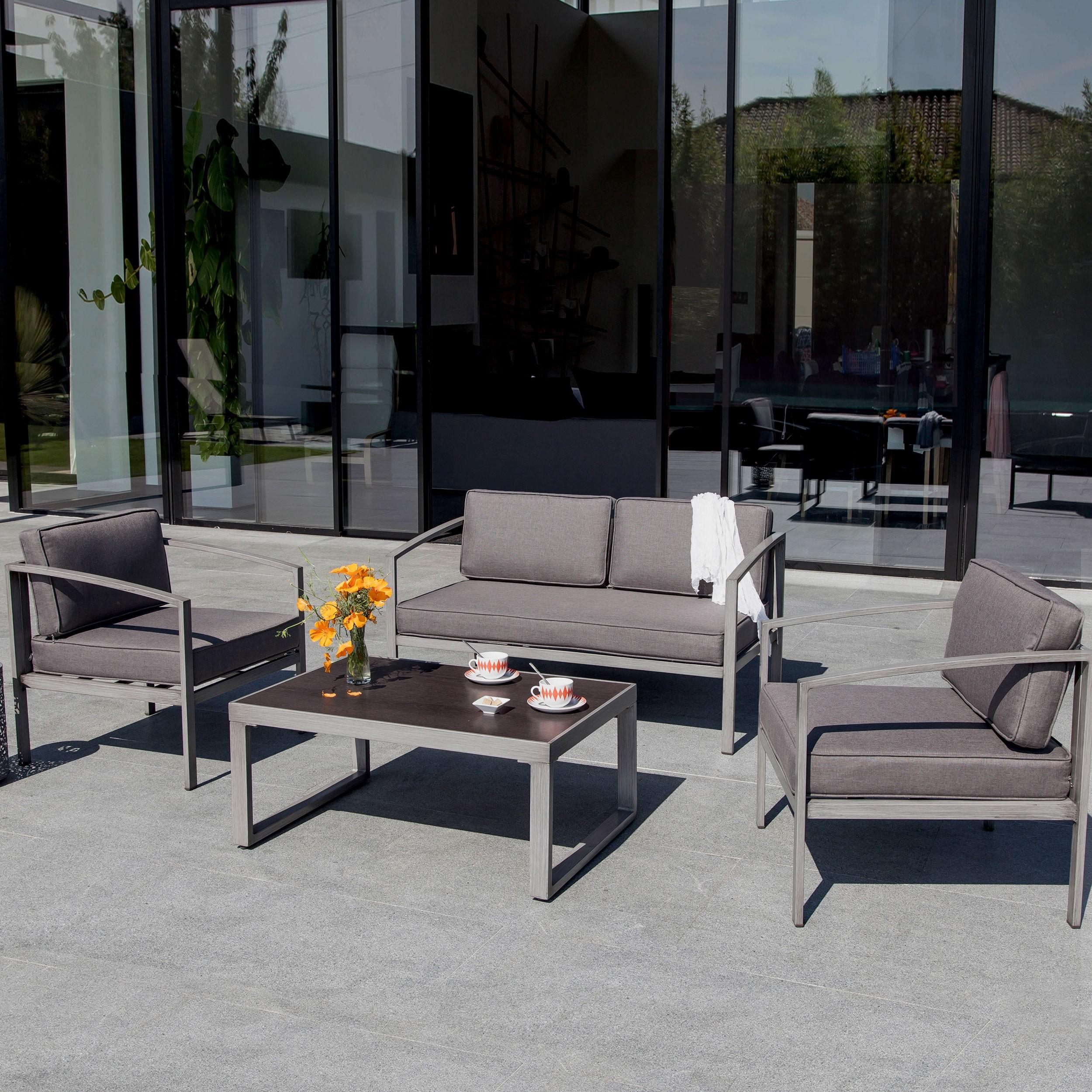 Salon de jardin Toluca gris (2 fauteuils et 1 canapé)