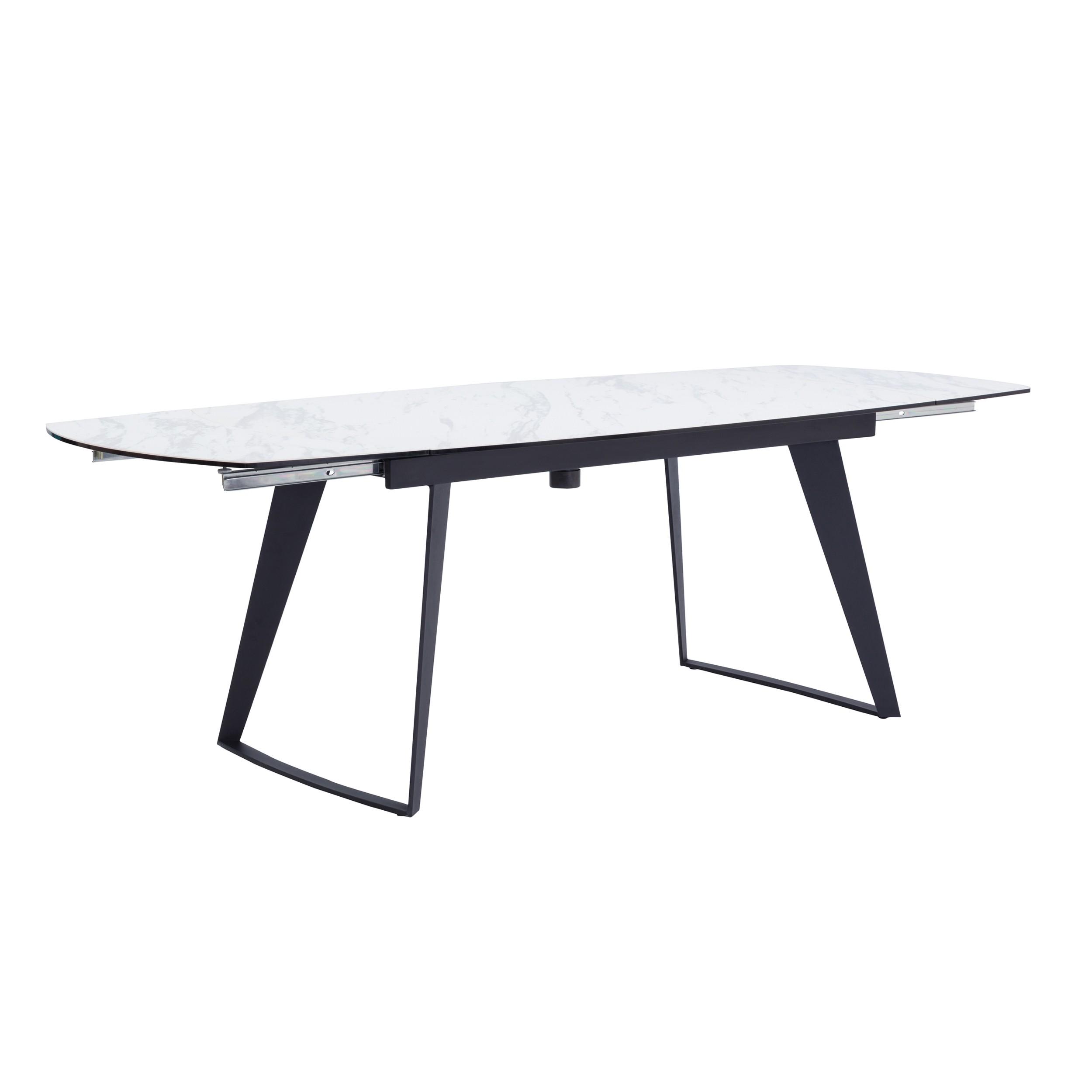 acheter table a rallonge blanche pieds metal noir