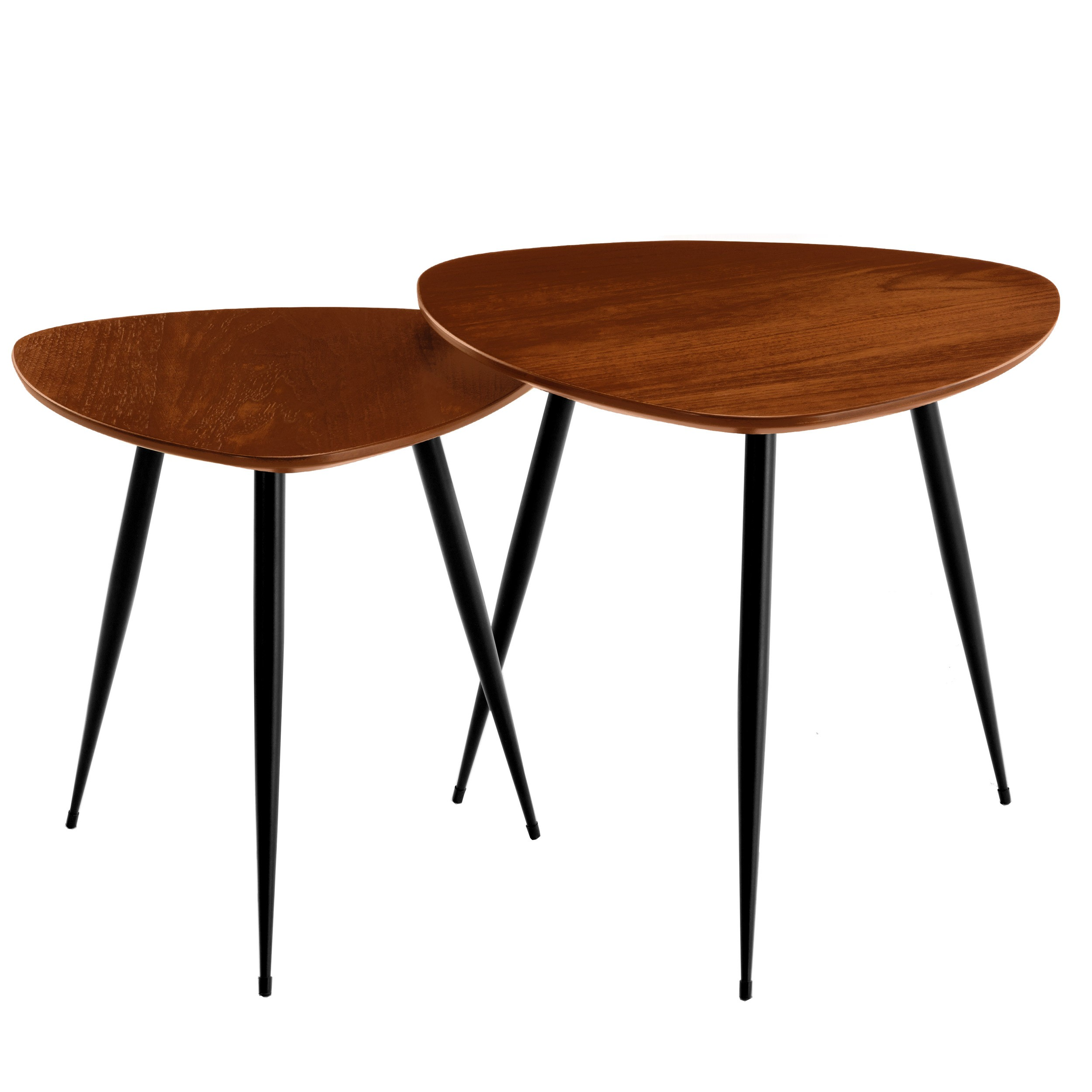 tables basses scandinaves en bois fonce quercus lot de 2. Black Bedroom Furniture Sets. Home Design Ideas