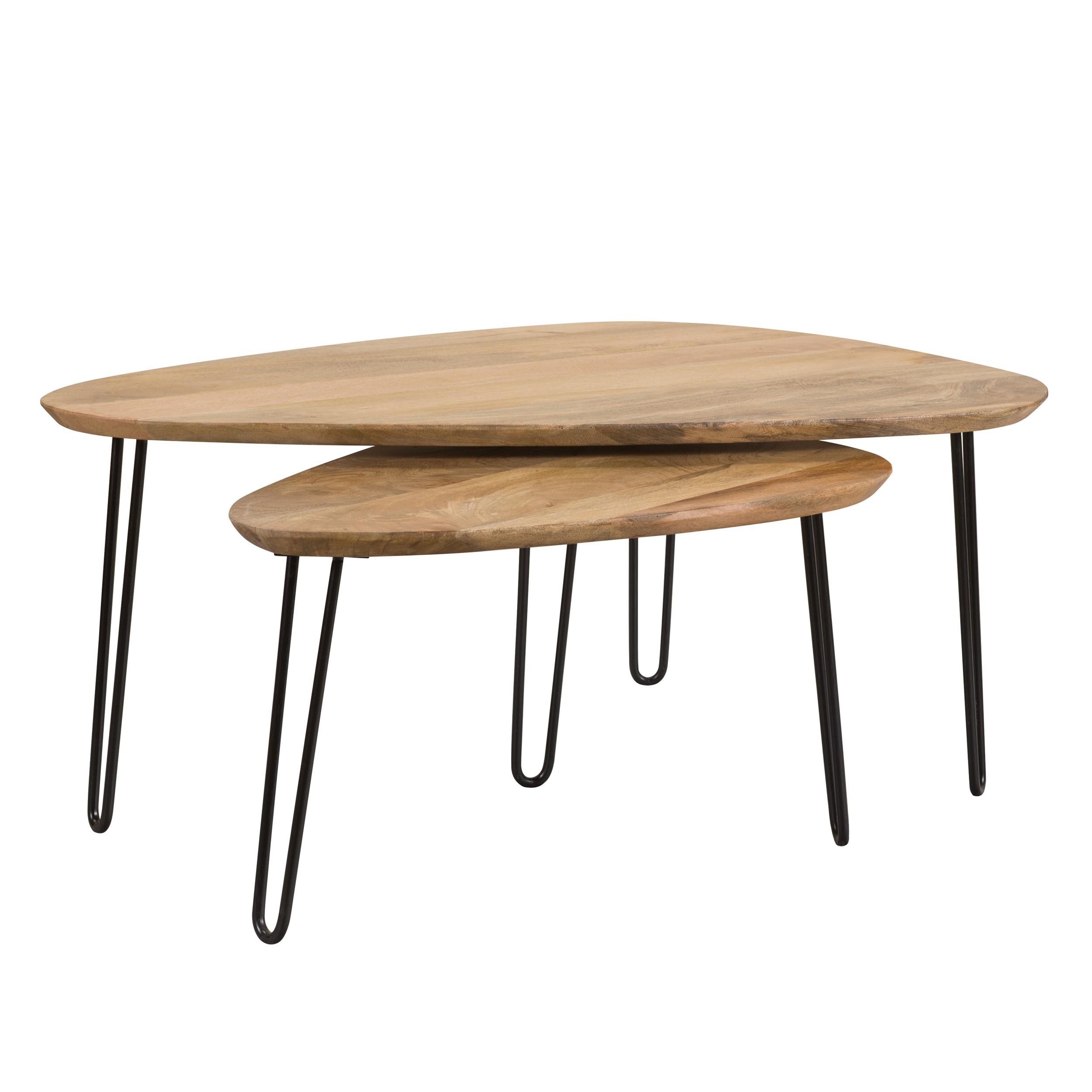 Table Basse Gigogne Bois.Table Basse Gigogne Kiwi En Bois Lot De 2