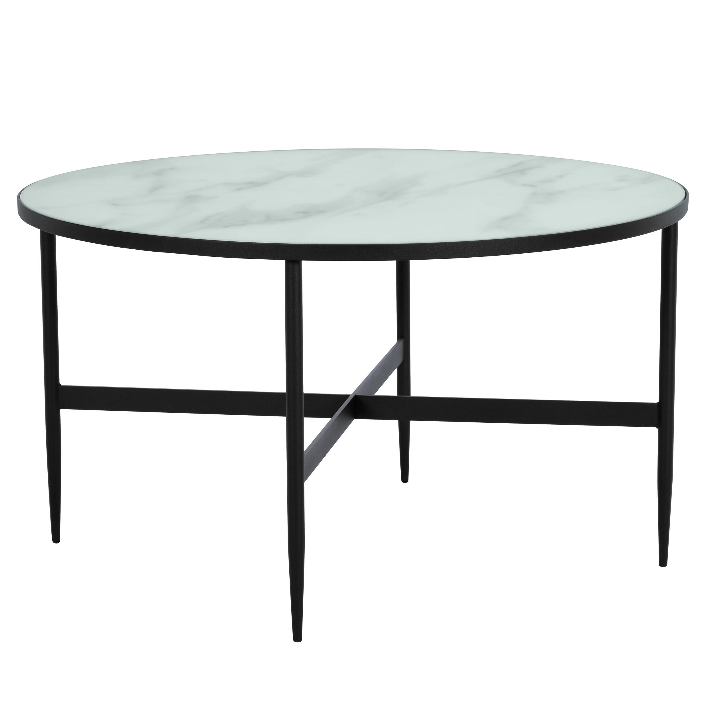 Table basse ronde alaska effet marbre et m tal noir 80 cm - Table haute et basse ...