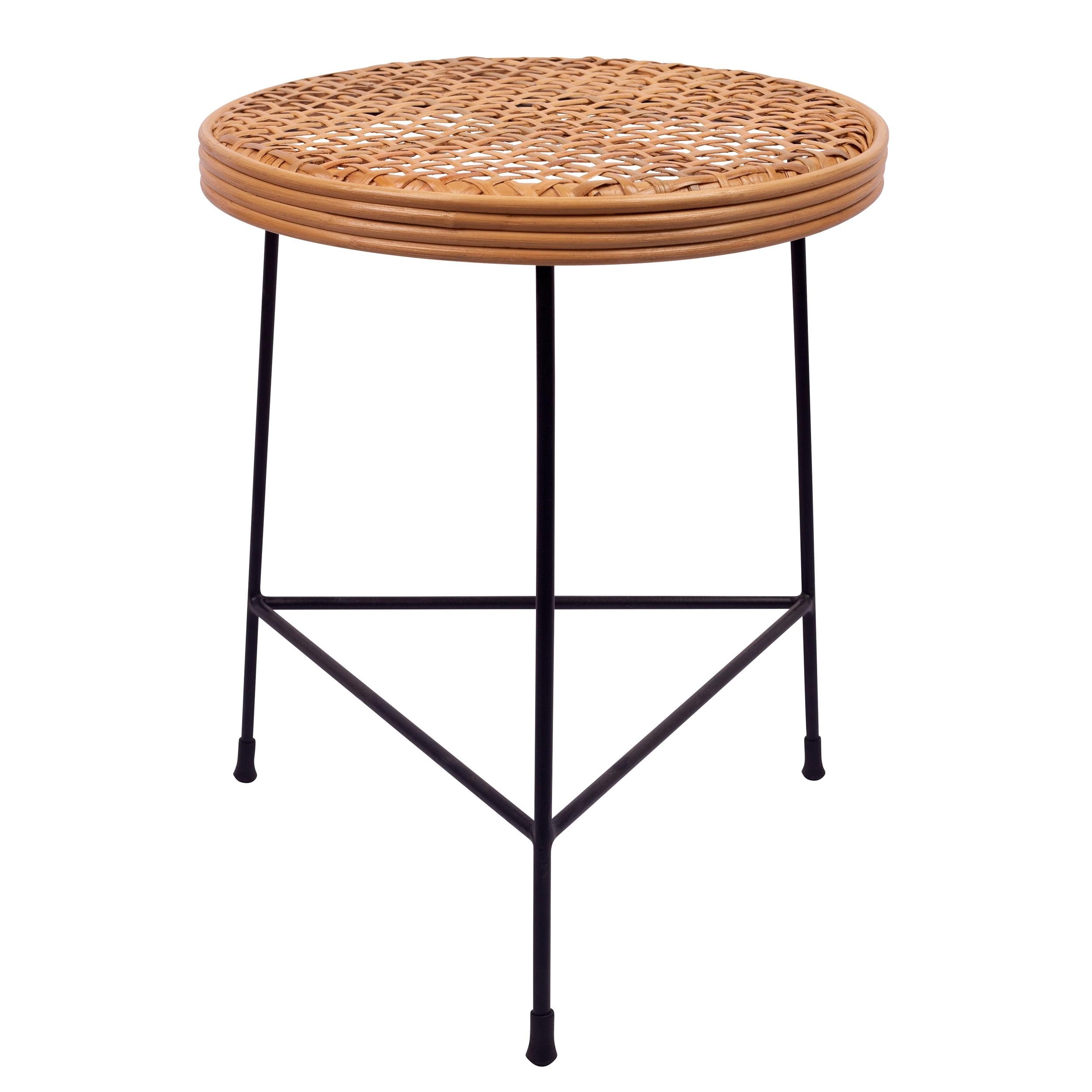 acheter table basse ronde en rotin et metal