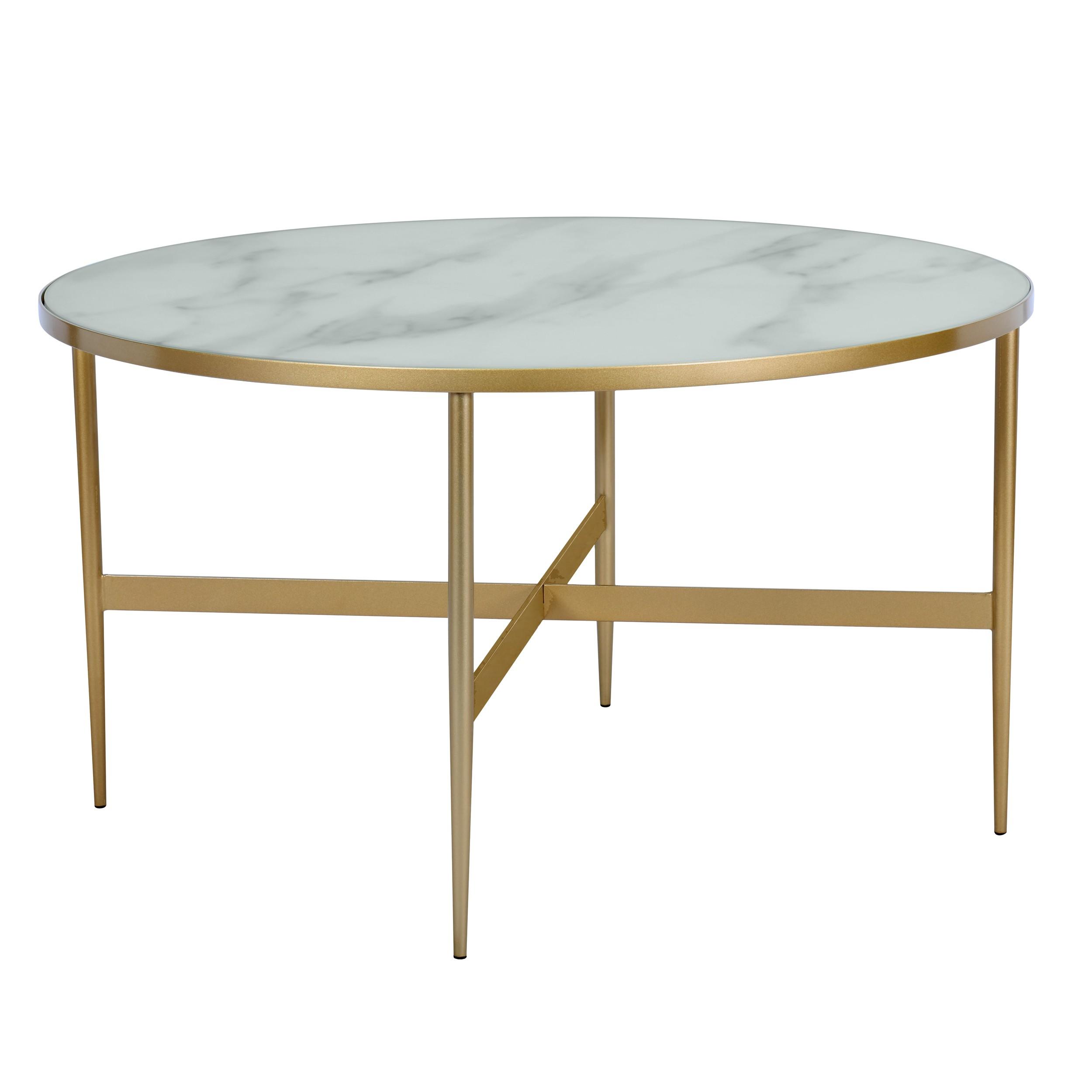 Table basse ronde Alaska en verre effet marbre et laiton ∅ 80 cm