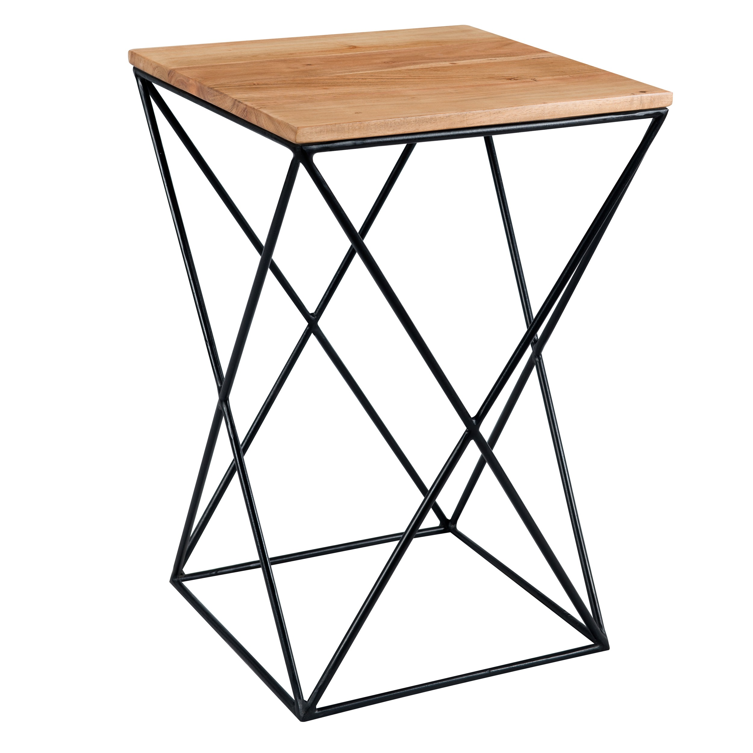 acheter table d appoint plateau bois pieds metal