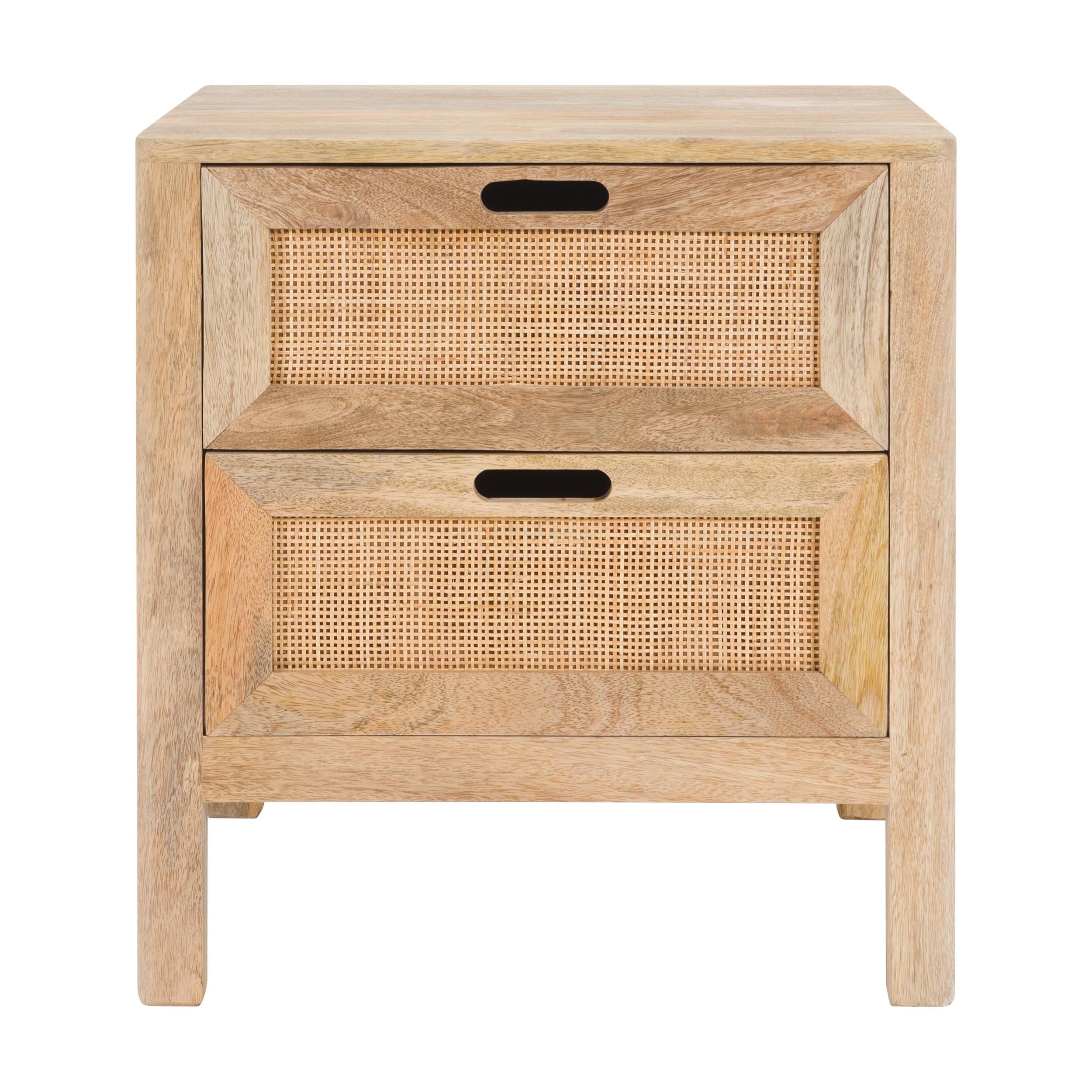acheter table de chevet en cannage et bois