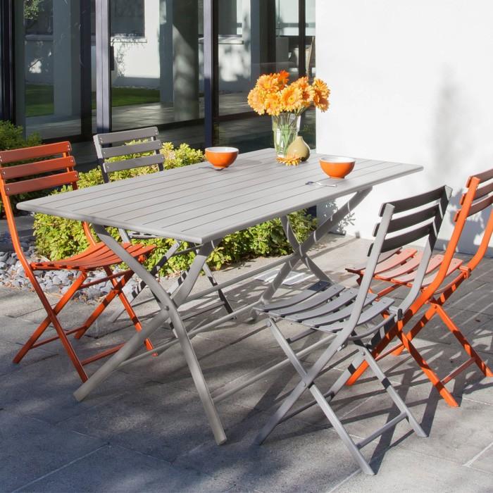 acheter table de jardin exterieure grise