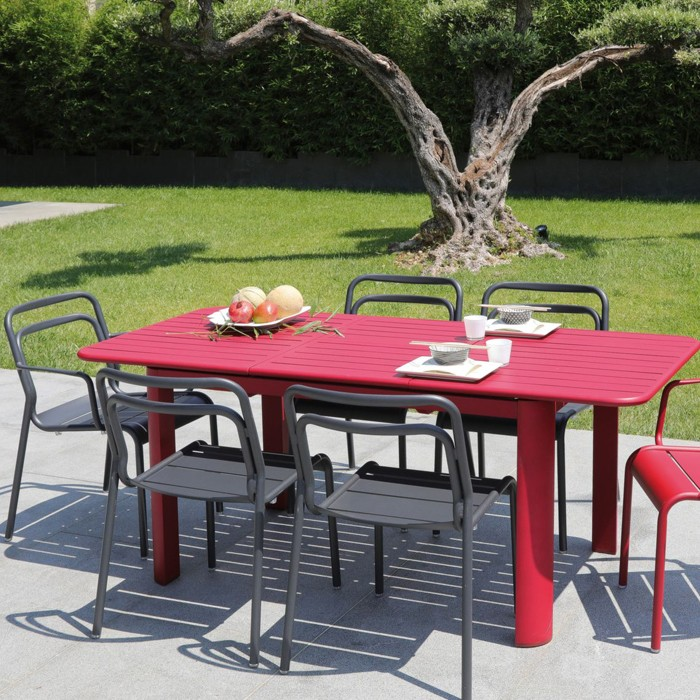 Table de jardin Eos extensible rouge 130/180cm