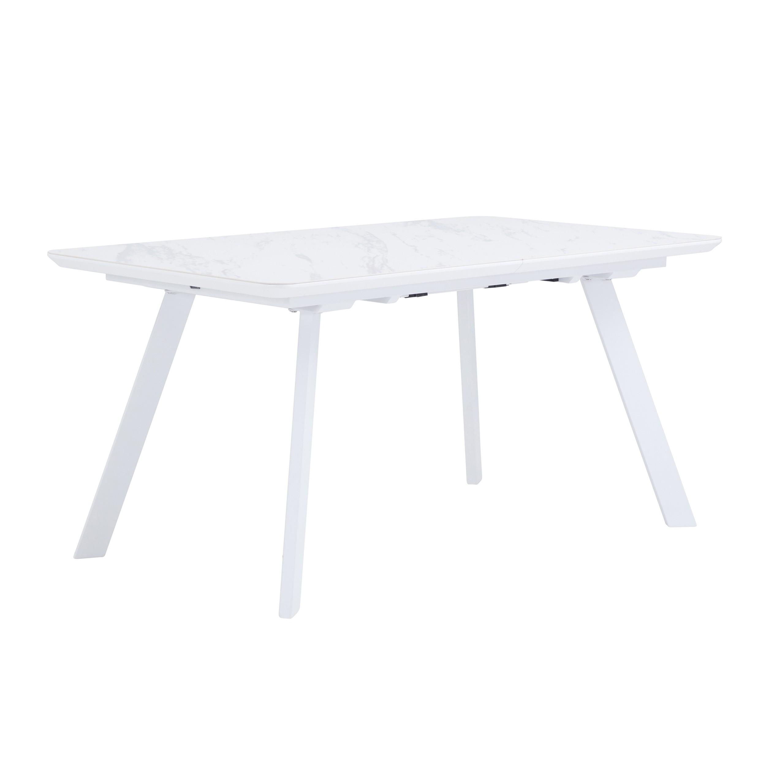 acheter table extensible en metal marbre blanc