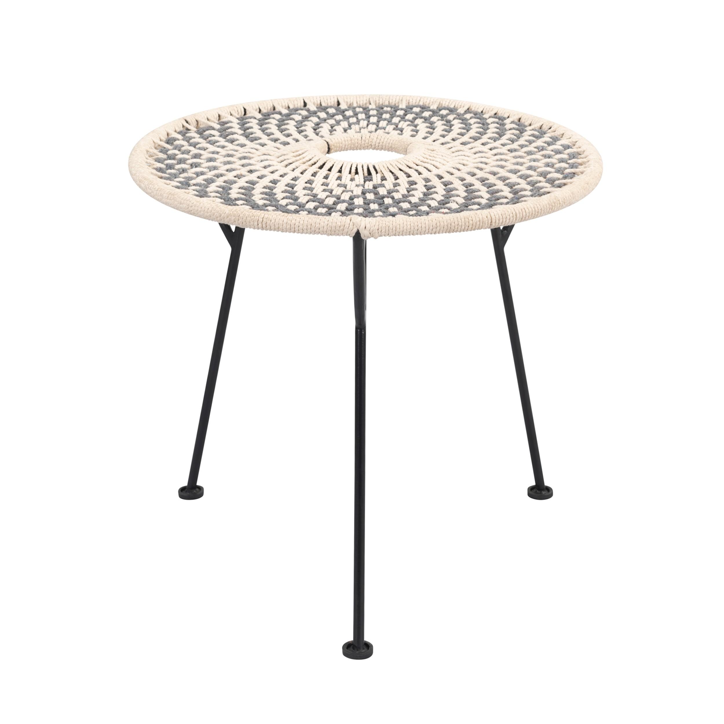 acheter table tressee en corde ecru et gris