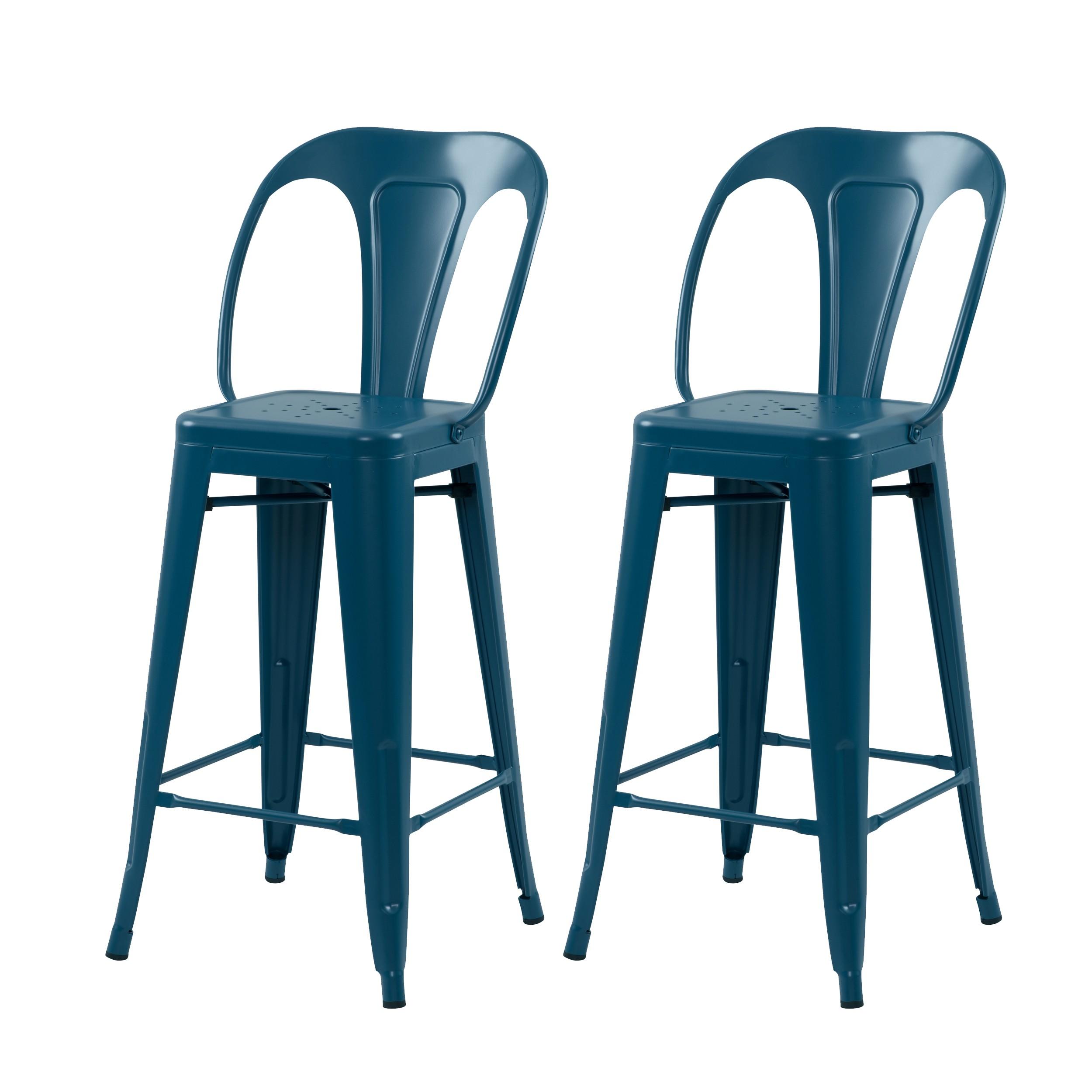 acheter tabouret de bar bleu lot de 2