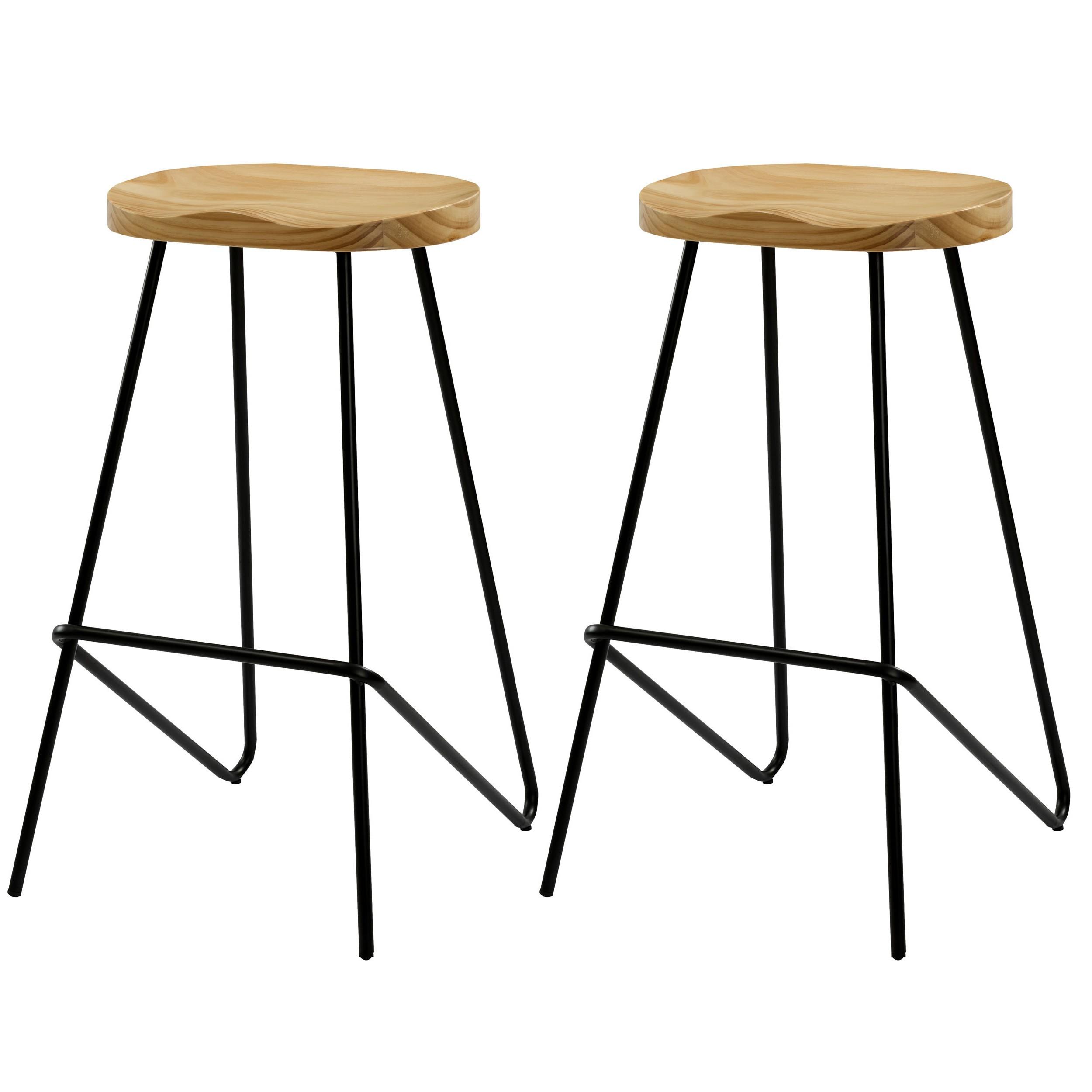 Chaise Bois Et Metal Industriel chaise de bar victoire en bois 78 cm (lot de 2)