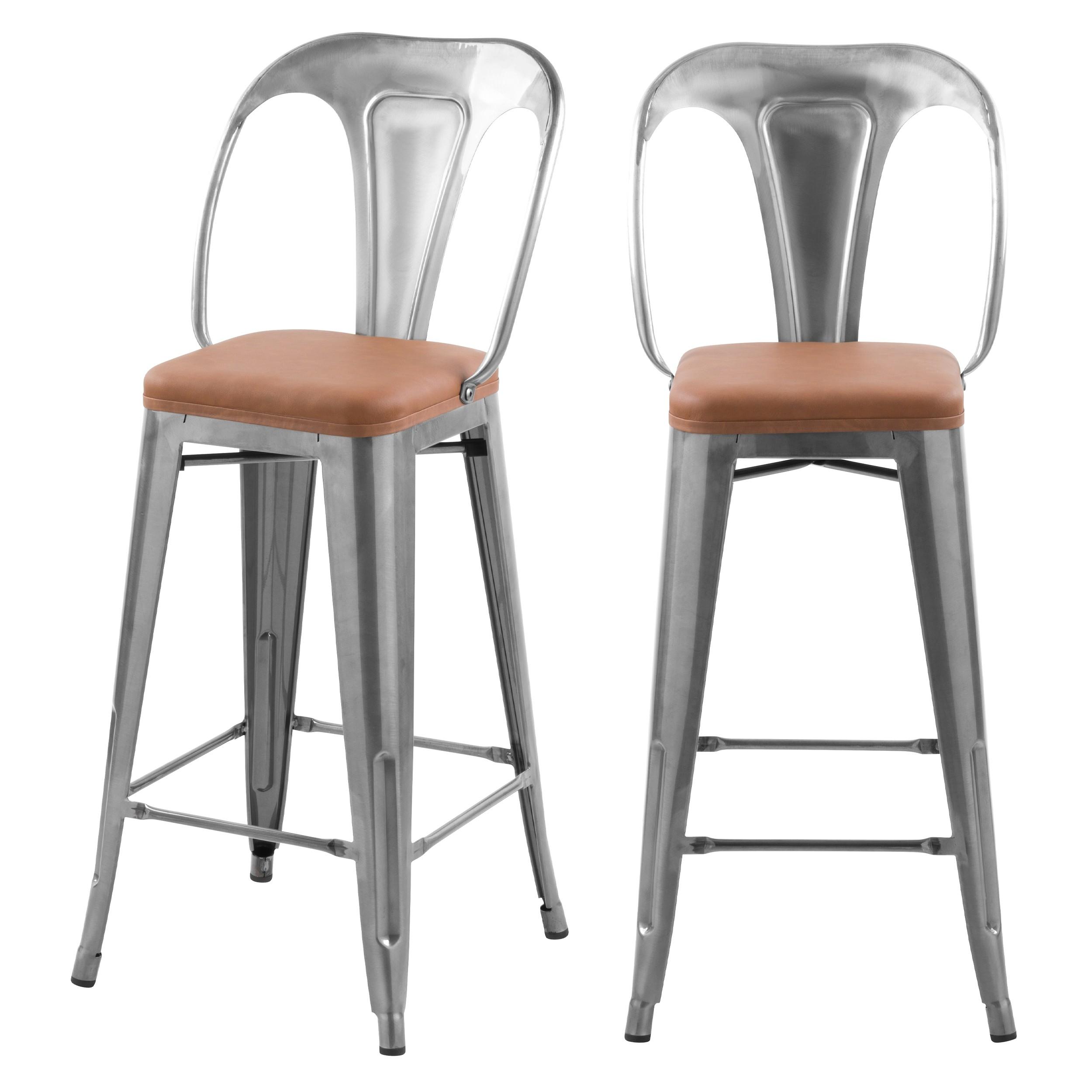 Chaises de bar mi hauteur Charly chrome et marron 66cm (lot de 2)