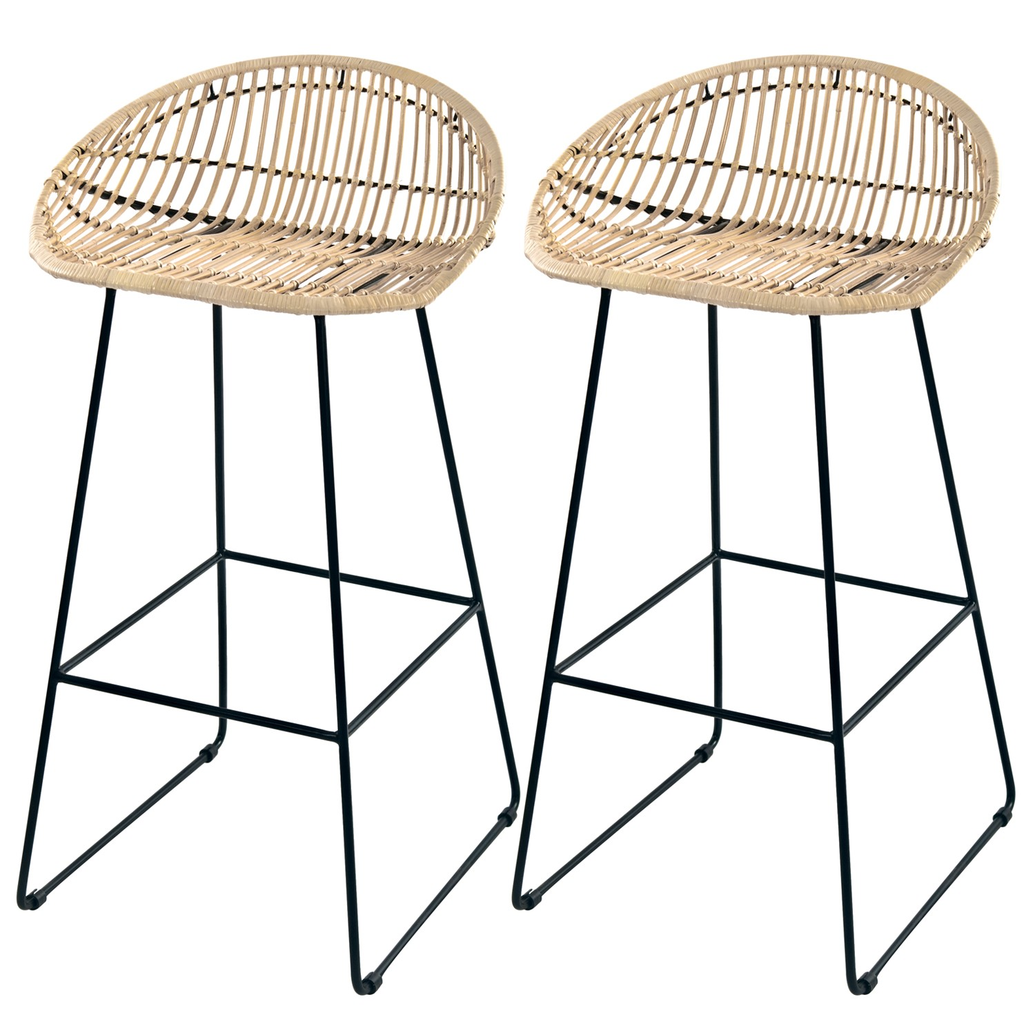 tabouret de bar lotus en rotin naturel pieds en m tal lot. Black Bedroom Furniture Sets. Home Design Ideas