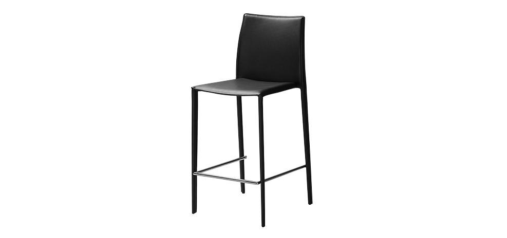 tabouret de bar tempo noir achetez nos tabourets de bar en cuir noirs design rdv d co. Black Bedroom Furniture Sets. Home Design Ideas