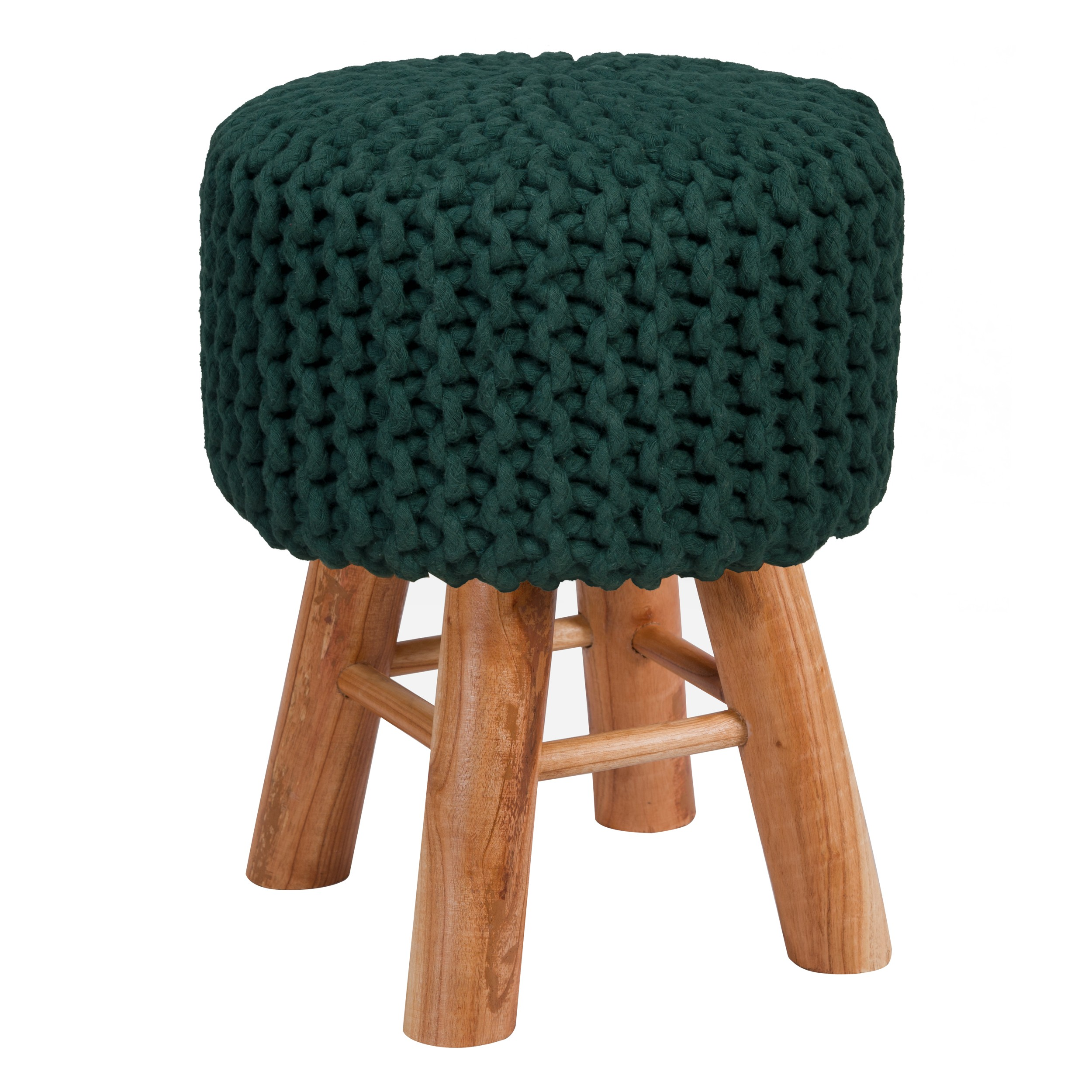 Cache Pied De Sapin Rotin tabouret tricot lisa vert sapin