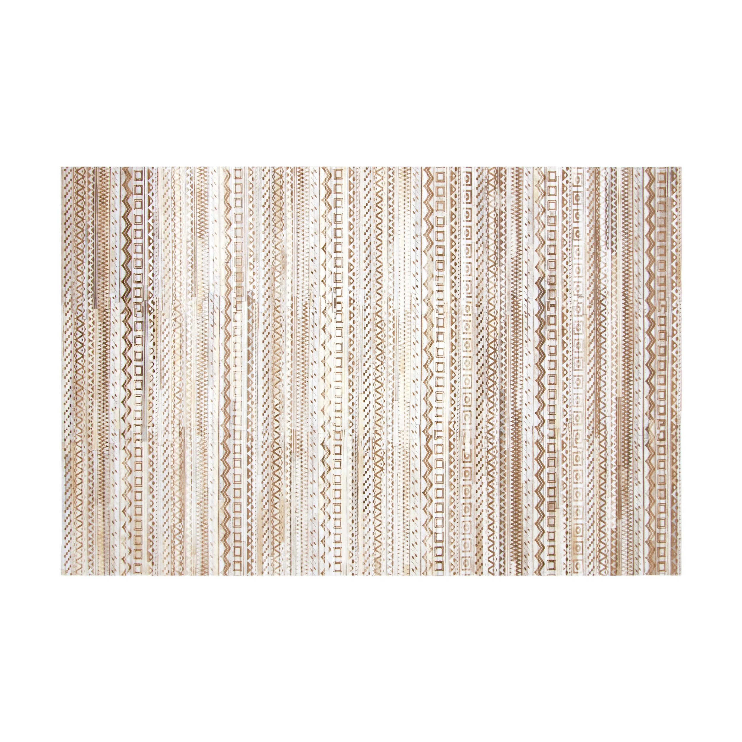 acheter tapis beige blanc en cuir