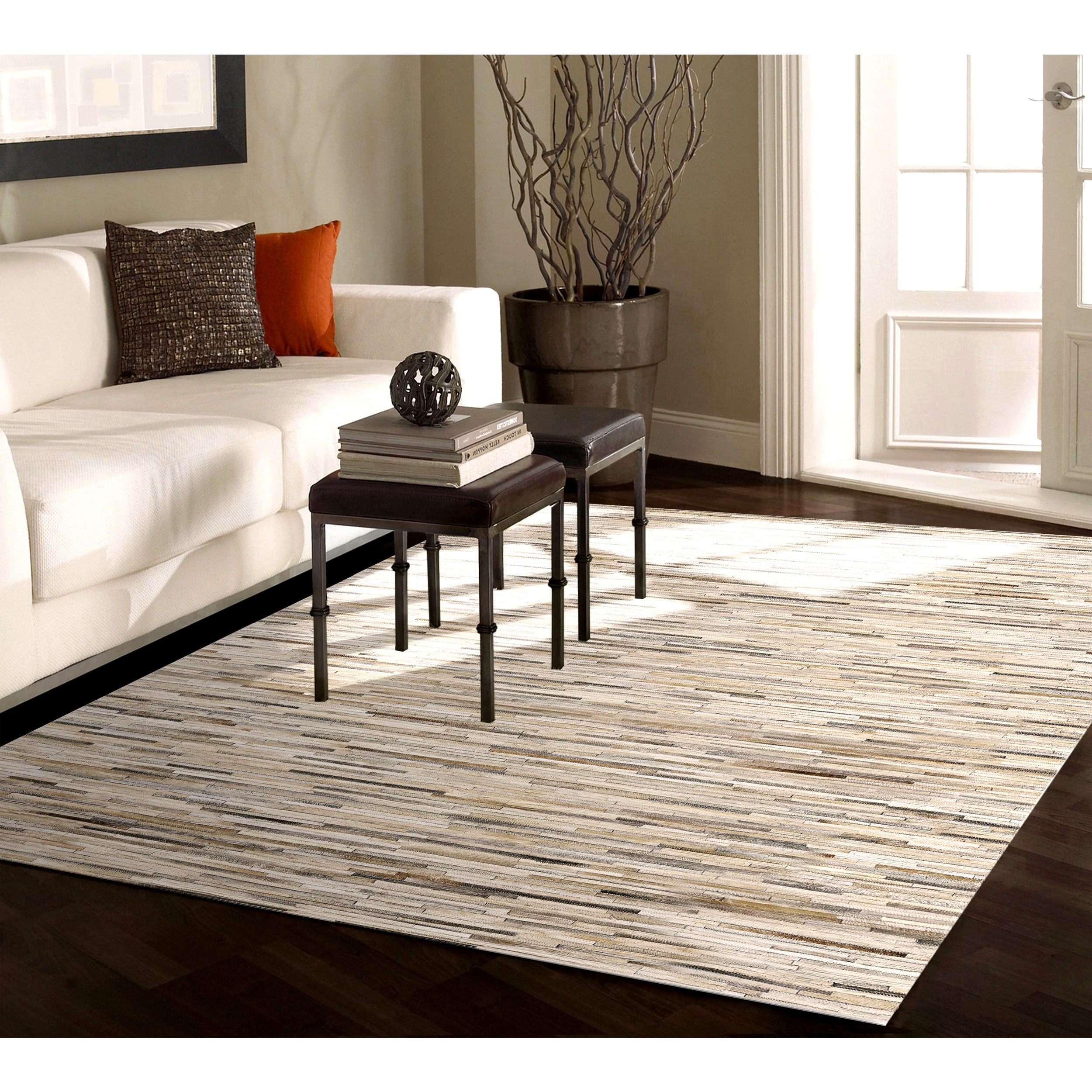 acheter tapis beige cuir