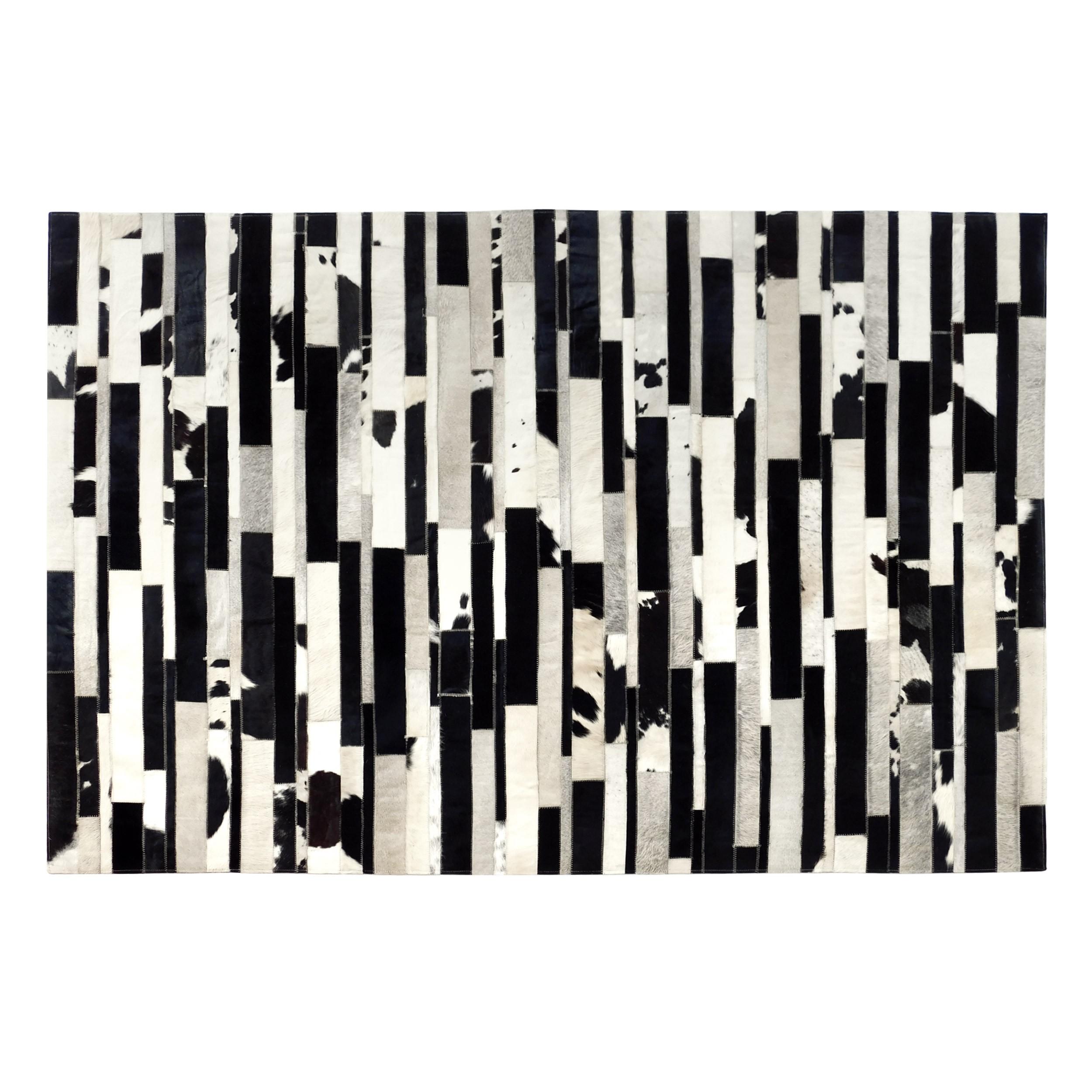 acheter tapis cuir noir et blanc rectangulaire