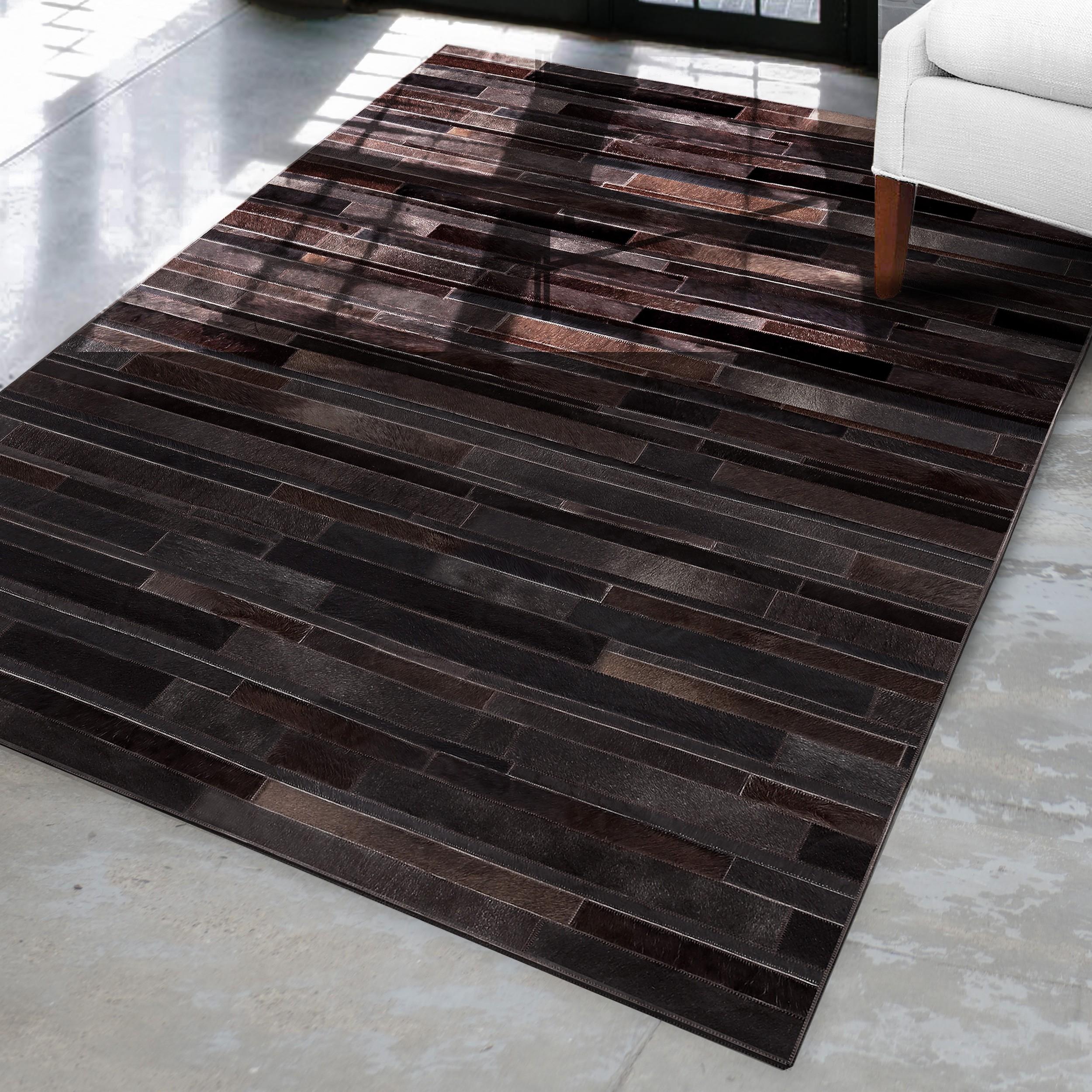 acheter tapis marron cuir