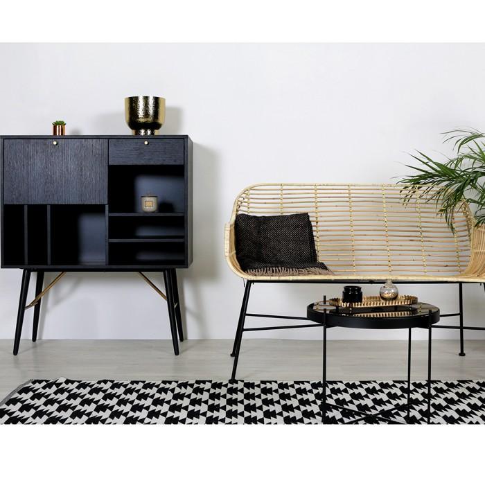 acheter tapis noir et blanc rectangulaire 140 x 200