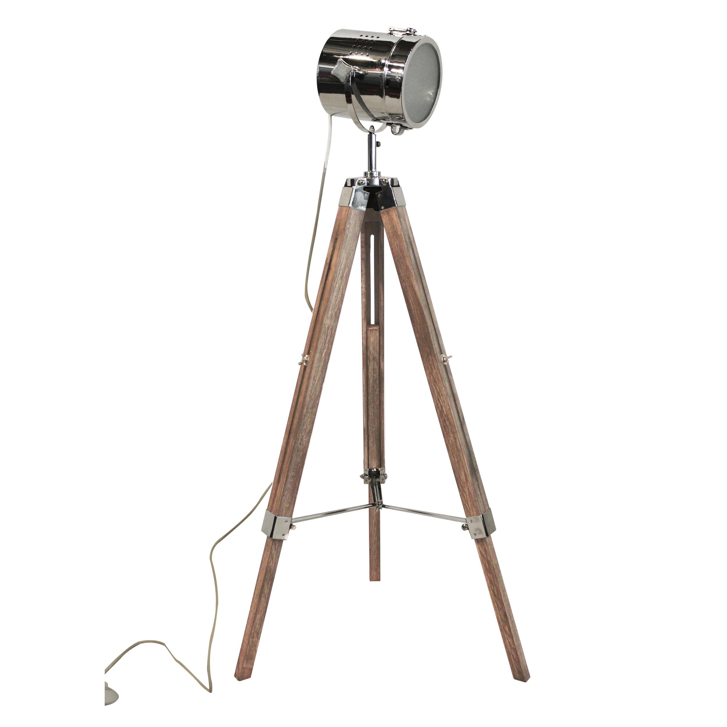lampadaire trepied bois metal pas cher