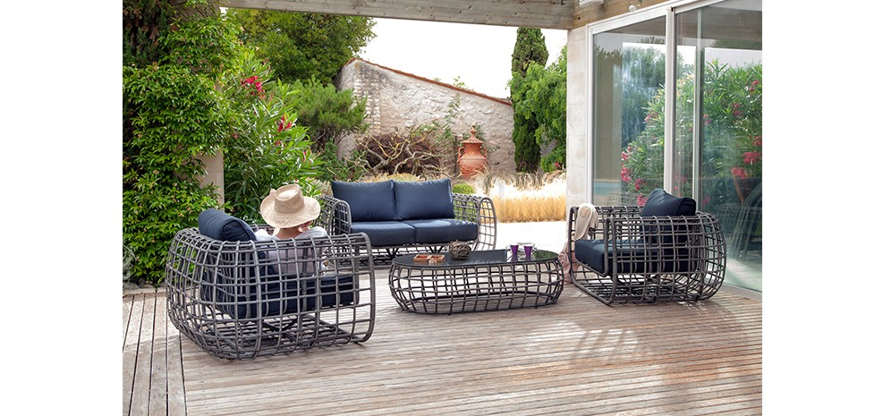 Canapé 2 places + table basse Cannes gris