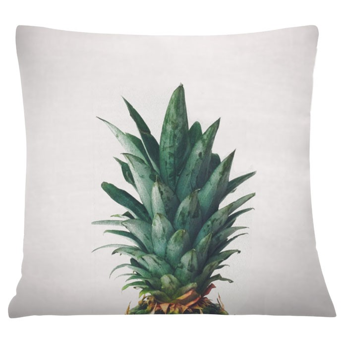 coussin carre ananas vert blanc