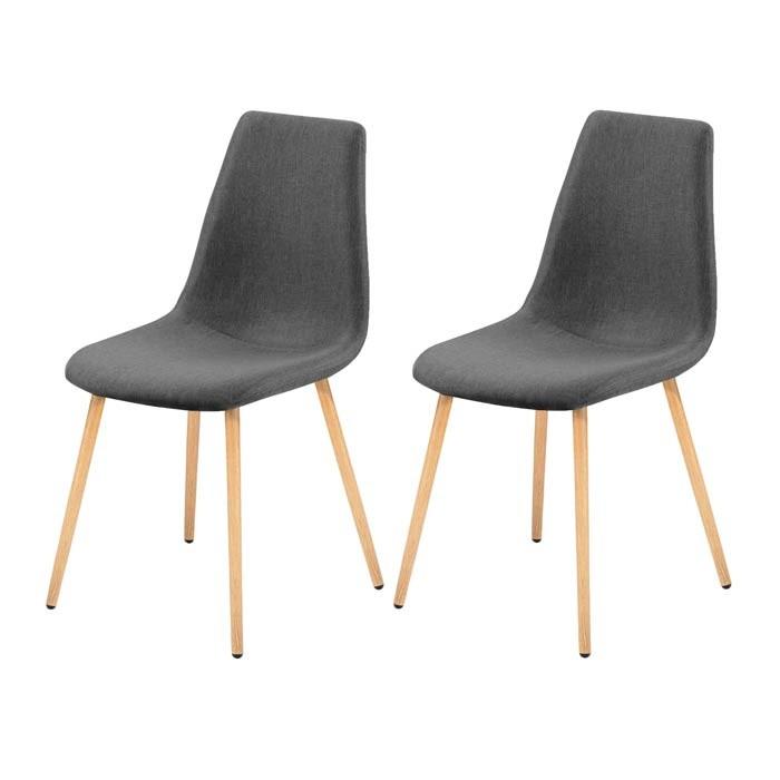 lot de 2 chaises scandinaves grises et bois