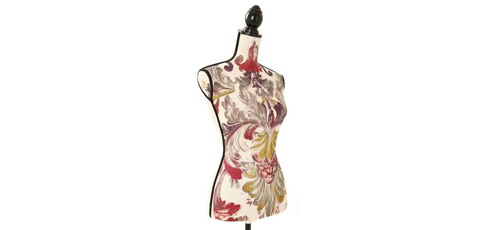 mannequin couture deco mannequin de couture tissu jaune motifs floraux style vintage mannequin. Black Bedroom Furniture Sets. Home Design Ideas