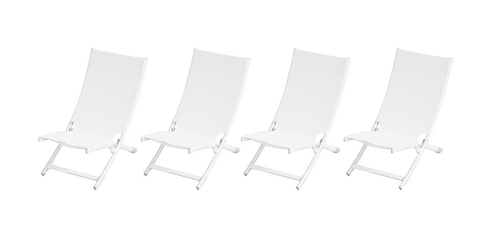 chaise transat de piscine blanc