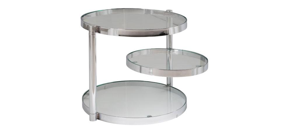 Table basse ronde vintage avec 3 plateaux pivotants par