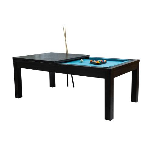 Table de Billard convertible Eddie bois foncé tapis bleu clair