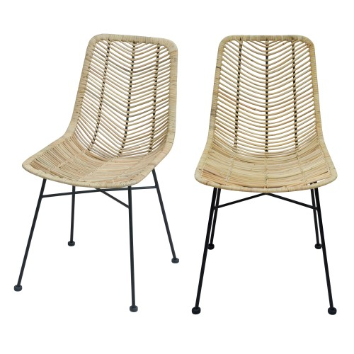 Chaise Tamara en rotin naturel (lot de 2)