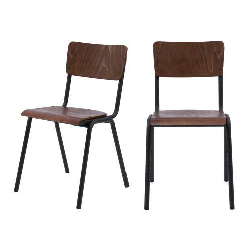 achat chaise écolier bois foncé lot de 2