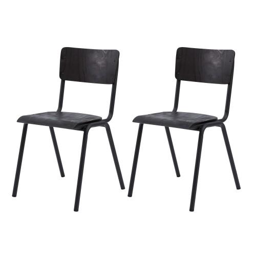 Chaise écolier vintage Clem en bois noir (lot de 2)