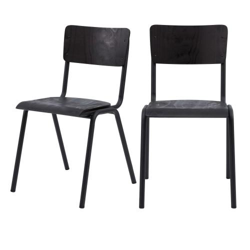 achat chaise écolier bois noir lot de deux