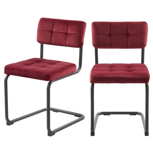 Chaise Fallon en velours bordeaux (lot de 2)