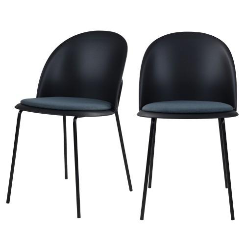Chaise Lulu en tissu noir (lot de 2)