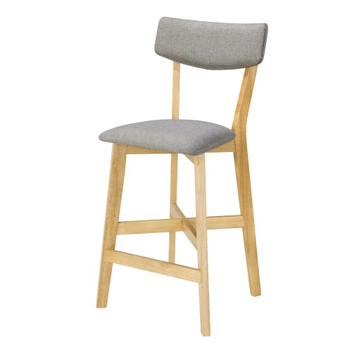 Chaise de bar mi hauteur Elmer grise en bois clair 68 cm (lot de 2)