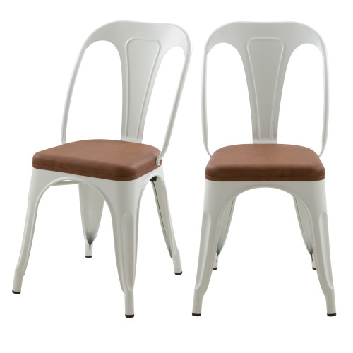 Chaise indus Charly blanche et marron (lot de 2)